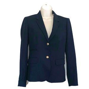 J Crew Women's Sz 4 Navy Schoolboy Blazer Wool